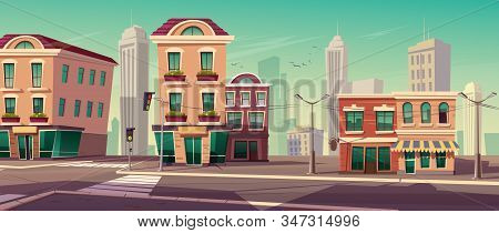 City Street With Houses, Road With Pedestrian Crosswalk, Traffic Lights And Street Lights. Vector Ca