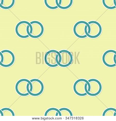 Green Wedding Rings Icon Isolated Seamless Pattern On Yellow Background. Bride And Groom Jewelery Si