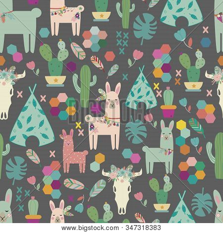 Vector Seamless Pattern Background With Lamas. Brown Background