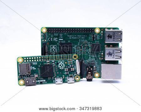 Uk, Jan 2020: Raspberry Pi 2 Model B And Zero On White Background