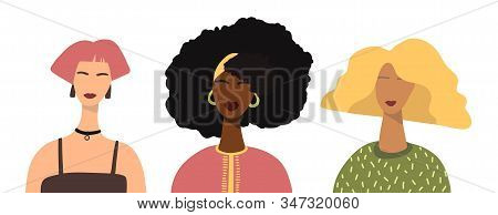 Different Women Avatars Set. Flat Stock Vector Famine Illustration With Different Nationalities. Wom
