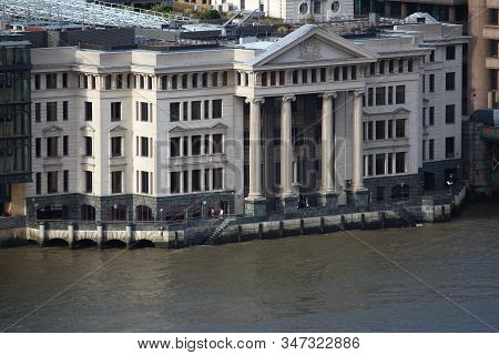 Vintners Place Building In London Uk. Thames Riverfront Offices.