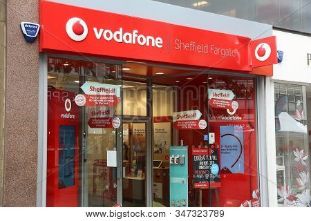 Sheffield, Uk - July 10, 2016: Vodafone Mobile Phone Shop In Sheffield, Uk. There Are 89.9 Million M