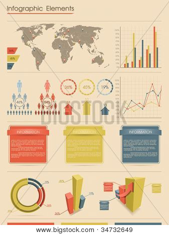 Infographic elements. Retro style