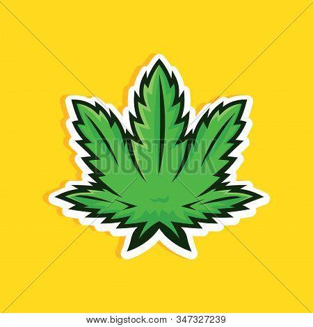 Cartoon Style Cannabis Leaf On Yellow Background. Green Marijuana Leaf Vector Icon, Logo, Print.
