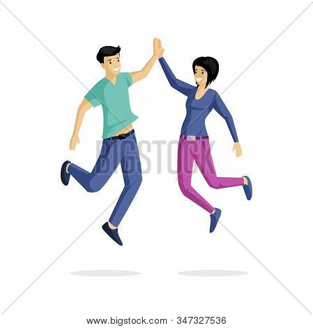 Smiling Young Couple Flat Vector Illustration. Cheer, Gladness, Rejoicing, Happiness, Positive Emoti