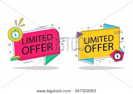 Limited Offer With Clock With Memphis Shape For Promotion, Banner, Price. Banner Countdown Of Time W