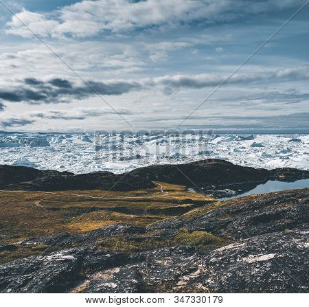 View Towards Icefjord In Ilulissat. Easy Hiking Route To The Famous Kangia Glacier Near Ilulissat In