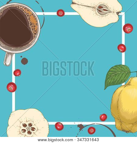 Square Menu Template With Coffee, Quince And Cranberry On Blue Background With Blank Area In The Cen