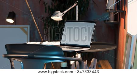 Modern Laptop With Blank Screen With Canvas And Draftings On Background In Modern Workshop. 3d Rende