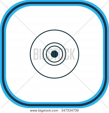 Vector Illustration Of Camera Lens Icon Line. Beautiful Laptop Element Also Can Be Used As Objective