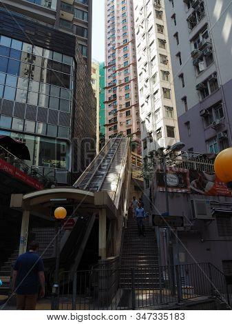 Central, Hong Kong - November 1, 2017: The Central-mid-levels Escalator Near Mosque Street.
