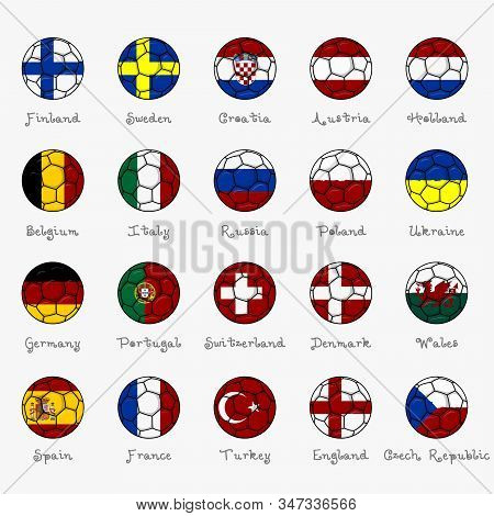 National Flags Of European, Football Championship Banner, Vector Illustration Of Abstract Soccer Bal
