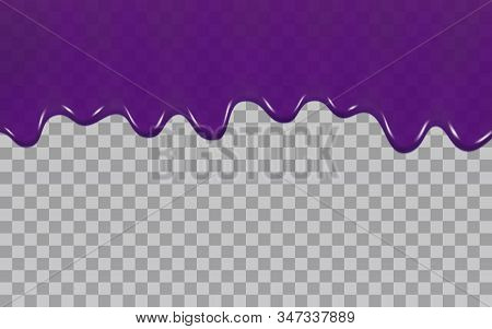 Blueberry Jam Or Blackberry Syrup Isolated On A Transparent Background. Vector Illustration Of Dripp