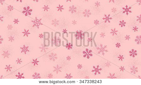 Pink Vector Snowflakes Background. Elegant Christmas And New Year Seamless Pattern With Snow, Sparkl
