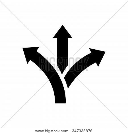 Three Way Direction Arrow Icon Isolated On White Background. Three Way Direction Arrow Icon In Trend