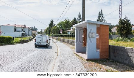 Vila Cha Near Esposende, Portugal - May 9, 2018: View Of A Bus Stop In The City Center On A Spring D