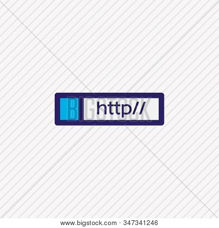 Illustration Of Web Address Icon Colored Line. Beautiful Network Element Also Can Be Used As Http Ic