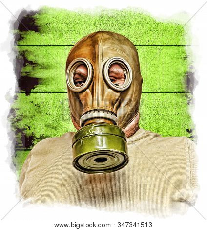 Men in gas mask taken closeup on grunge background. Environmental pollution concept. Toned image.