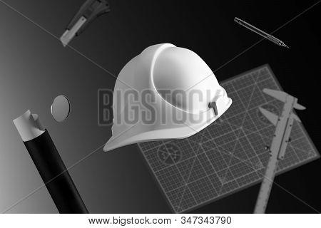 White Construction Helmet, Calliper, Drawing Tube, Cutter Knife, Pencil And Cutting Mat. 3d Renderin