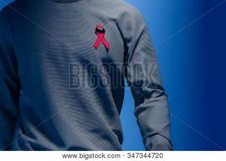 Awareness Pink Ribbon On Man Chest. Breast Cancer Awareness Symbol. National Breast Cancer Awareness