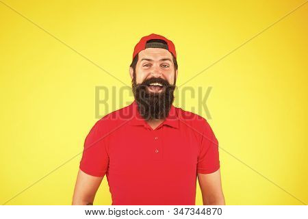 How Can I Help You. Supermarket Staff Wanted. Man Bearded Hipster With Mustache Wear Uniform Yellow