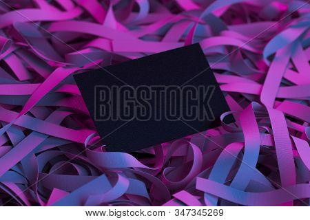 Black Blank Business Card On Violet Illuminated Ribbons. 3d Rendering. Copy Space. Empty Space.