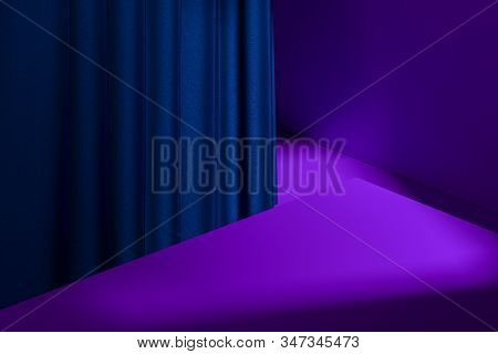 Showcase With Empty Space On Pedestal With Violet Curtains On Background. 3d Rendering. Minimalism.