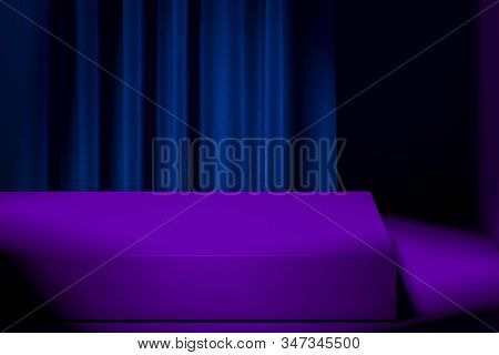 Slightly Illuminated Showcase With Empty Space On Pedestal With Violet Curtains On Background. 3d Re