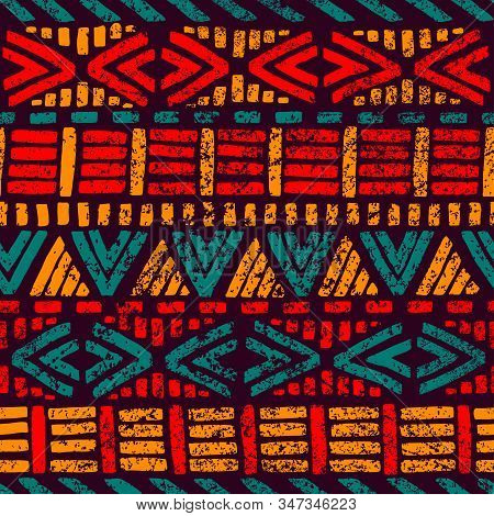 Seamless Striped Pattern. Grunge Texture. Ethnic And Tribal Motifs. Red, Blue, Orange And Violet Col
