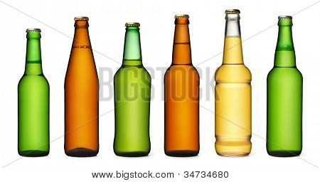 Set of beer bottles. isolated on white background