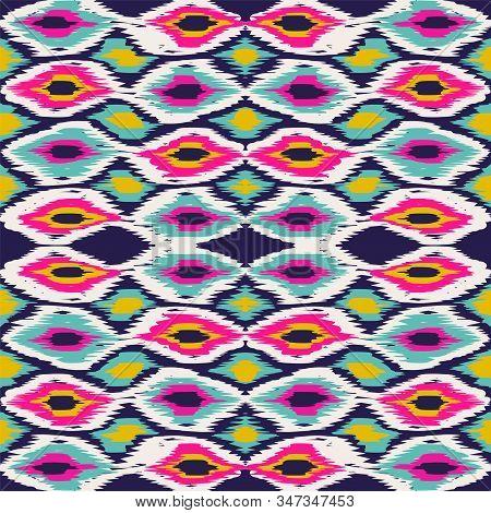 Indigo Elegant Tie Dye Vector Seamless Pattern. Fabric Tie Dye Navajo Design. Ethnic Bohemian Wallpa