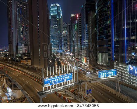 Central, Hong Kong - November 4, 2017: The Rumsey Street Flyover Viaduct In Hong Kong.