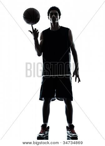 one young man basketball player silhouette in studio isolated on white background poster