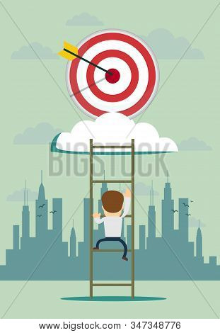 Stairs To Goal. Businessman In Suit Rises Up Stairs To Top Of Target. Business Concept. Vector Illus