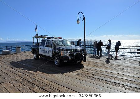 Los Angeles, U.s.a. - November 3 2015: A Patrol Car Of The Harbour Police At The Santa Monica Pier.
