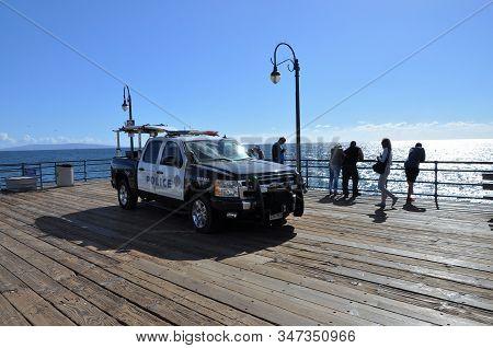 Los Angeles, U.s.a. - November 3 2015: A Patrol Car Of The Harbour Police At The Santa Monica Pier.