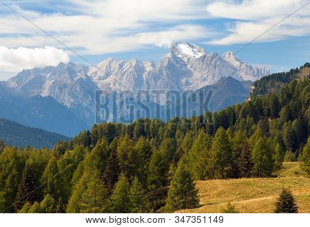 Marmolada, View Of Top Of Alps Dolomities Mountains, Italy