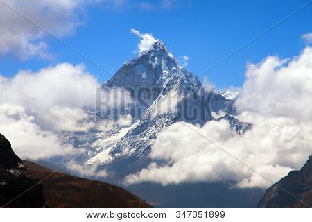 View Of Ama Dablam On The Way To Everest Base Camp With Beautiful Cloudy Sky, Sagarmatha National Pa