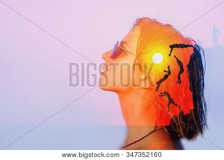 Freedom, Mental Health, Life Energy Concept. Double Exposure Young Beautiful Woman Head Face Portrai