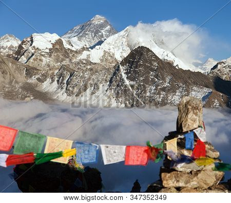 View Of Mount Everest And Lhotse With Buddhist Prayer Flags From Gokyo Ri - Way To Everest Base Camp