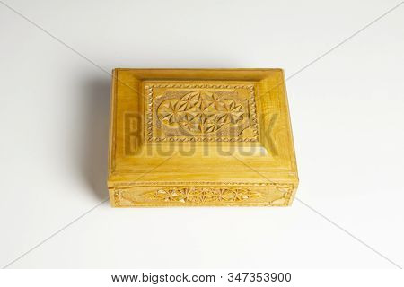 Closed Single Casket Isolated On White With Soft Shadows, Wooden Box, Wooden Chest, Treasure Chest.