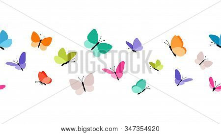 Color Flying Butterflies Seamless Pattern. Beautiful Insects Isolated On White Background. Spring Su