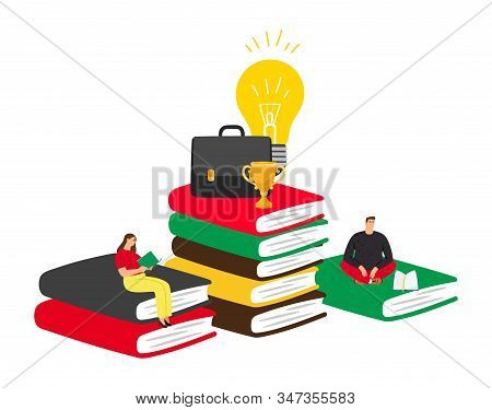 Self Education Concept. Reading And Success, Business Trainings, Fascinating Books. People Read And