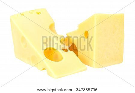 Lying Two Triangular Pieces Of Maasdam Cheese Isolated On A White Background