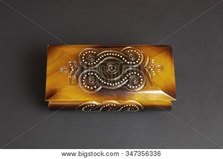 Closed Single Casket On Dark Paper Background, Wooden Box, Wooden Chest, Treasure Chest.