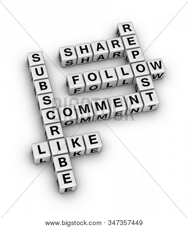 Social Media concept. 3D cubes crossword puzzle on white background.