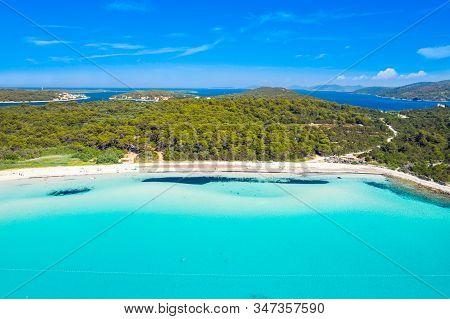 Turquoise Lagoon Bay On Sakarun Beach On Dugi Otok Island, Croatia, Beautiful Seascape And Popular T