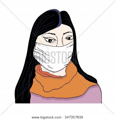 Girl In Medical Mas Icon. Hand Drawn Object Isolated Graphic Design Element For Web, For Print