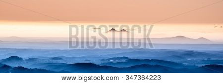 Bezdez Twin Mountains Rising From The Mist. Weather Temperature Inversion, Czech Republic
